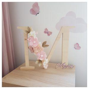 Grande Lettre en bois Fleurie à poser